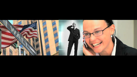 Triple montage of business and communication Stock Video Footage
