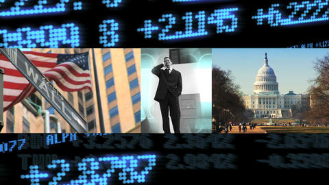 Triple montage of business and communication with motion... Stock Video Footage