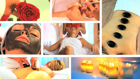 Collection of health and beauty spa images Footage