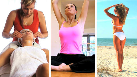Triple montage of healthy lifestyle Stock Video Footage