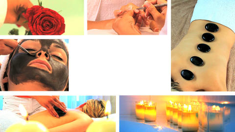 Collection of health and beauty spa images Stock Video Footage