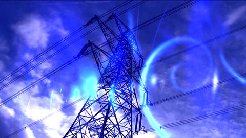Time-lapse white clouds in blue sky behind electricity... Stock Video Footage