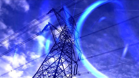 Time-lapse white clouds in blue sky behind electricity pylon with light effect Footage