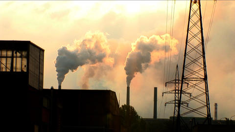 Industrial pollution with heavy steel industry Stock Video Footage