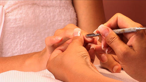 Fingernail manicure & polish being applied at beauty spa... Stock Video Footage