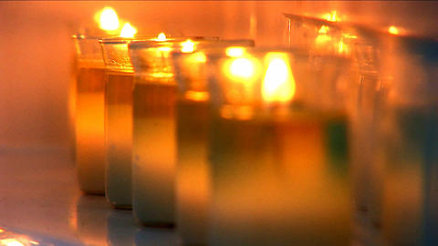 Aromatherapy candles burning at health & beauty spa Stock Video Footage