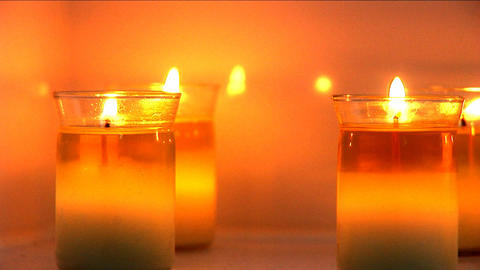 Aromatherapy candles burning at health & beauty spa Footage