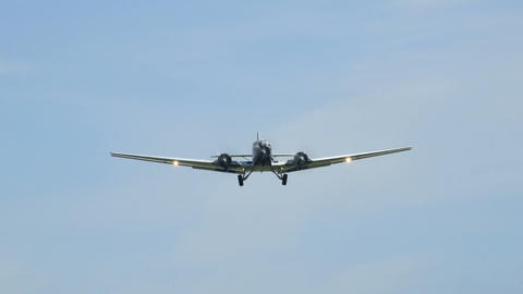historic airplane Junkers JU 52 fly over super close 10920 Stock Video Footage