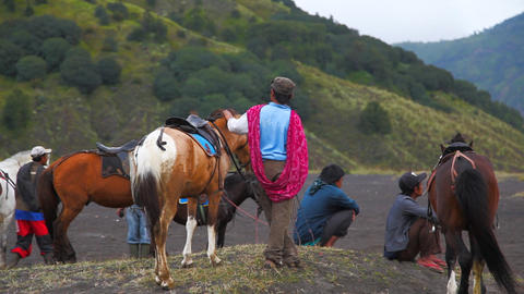 Batok people horse edit 1710 HD Stock Video Footage