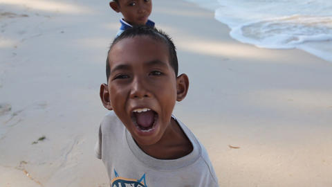 Boys on Gili Meno island, Indonesia Footage