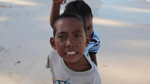 Boys on Gili Meno island, Indonesia Stock Video Footage