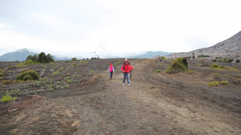 Tourists walking at Bromo volcano Footage