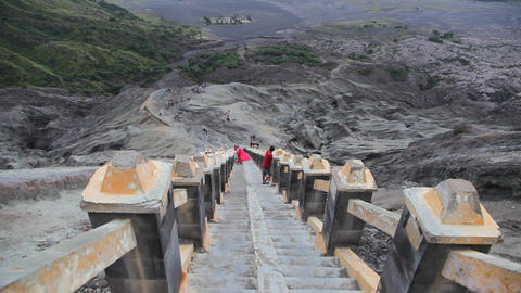 Steps to Bromo volcanos crater Stock Video Footage