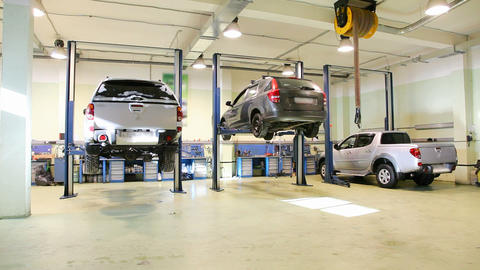 Car Repair Shop , Crane Shoot stock footage