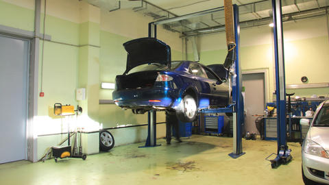 Car repair shop timelapse Stock Video Footage