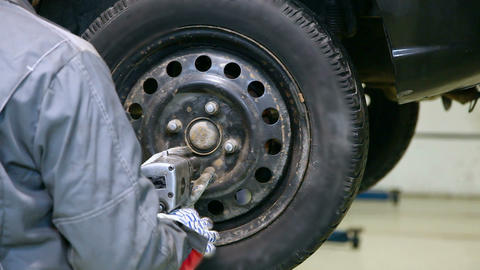 Car wheel installation Footage