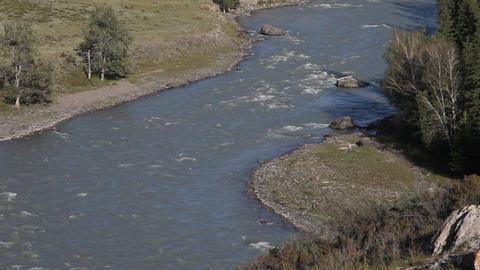 Mountain rivers Chuya and Katun in Russian Altai Stock Video Footage