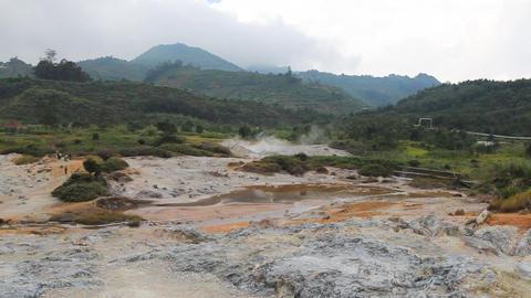 Kawah Sikidang on Dieng Plateau Stock Video Footage