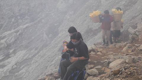 Tourists at crater Ijen Volcano Footage