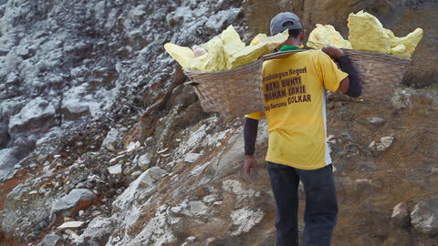 Worker at crater Ijen Volcano Footage
