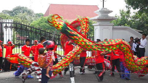 Dancing people in Jogjakarta city Stock Video Footage