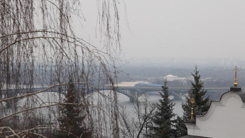 View to Dnepr river from Kiev Pechersk Lavra in Kiev Stock Video Footage