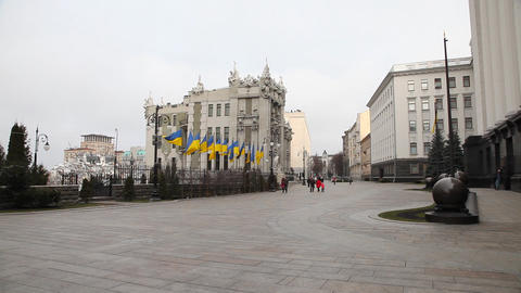House with Chimaeras in Kiev Stock Video Footage