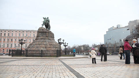 Monument To Bohdan Khmelnytsky In Kiev stock footage