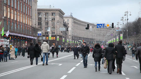 Kreschatik street in Kiev Stock Video Footage
