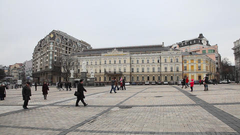 Mikhailovsky Square in Kiev Stock Video Footage