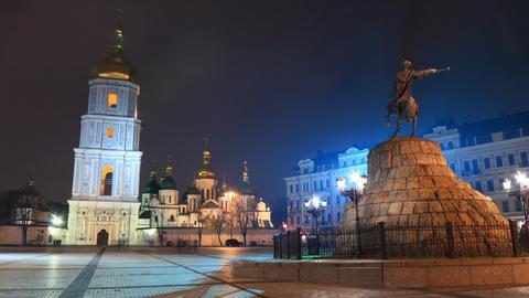 Saint Sophia Cathedral in Kiev timelapse Stock Video Footage