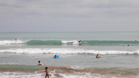 Surfers on the Kuta beach Stock Video Footage