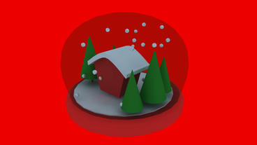 Rotation of 3D Christmas Crystal Ball.sphere,shiny,House,tree,pine,cedar,snow,wi Animation