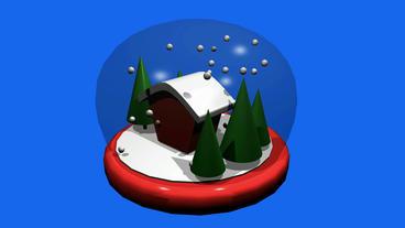 Rotation of 3D Christmas Crystal Ball.sphere,shiny,House,tree,pine,cedar,snow,wi Animation