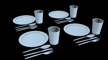 Rotation of 3D Tableware.dishware,fork,restaurant,dinner,knife,plate Animation
