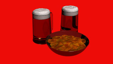 Rotation of 3D beer and Potato... Stock Video Footage