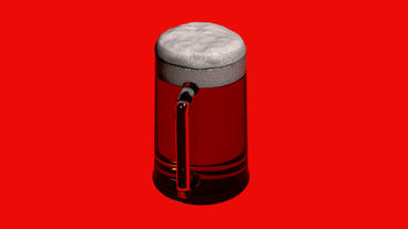 Rotation of 3D beer.alcohol,drink,glass,cold,lager,beverage,foam,froth,pub,liqui Animation