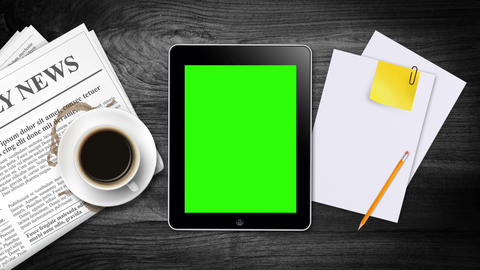 Hand Gestures on a tablet with green screen Stock Video Footage