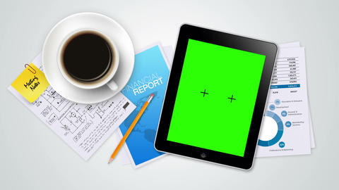 Tablet with Green Screen Slide Show Animation