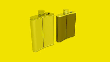 Stainless steel hip flask Stock Video Footage