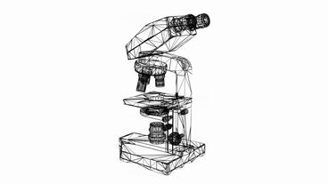 Microscope In Aboratory,research Equipment,Grid,mesh,sketch,structure. stock footage