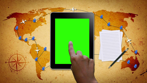 Hand Gestures On A Tablet With Green Screen stock footage