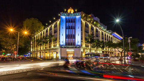 1080 - SAIGON REX HOTEL - TIMELAPSE Stock Video Footage