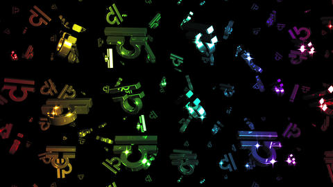 Looping Rainbow Zodiac Libra Symbols Falling Stock Video Footage