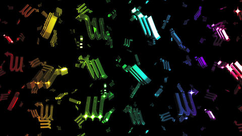 Looping Rainbow Zodiac Scorpio Symbols Falling Stock Video Footage
