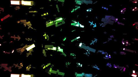 Looping Rainbow Zodiac Sagittarius Symbols Falling Stock Video Footage