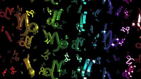 Looping Rainbow Zodiac Capricorn Symbols Falling Animation