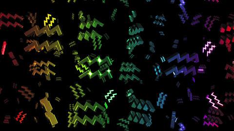 Looping Rainbow Zodiac Aquarius Symbols Falling Animation