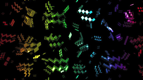 Looping Rainbow Zodiac Aquarius Symbols Falling Stock Video Footage