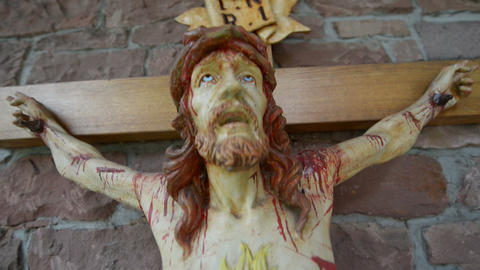 very bloody scary jesus on the cross 10896 Stock Video Footage